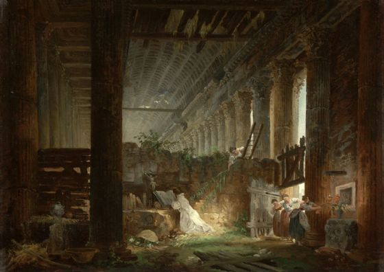 Hubert, Robert: A Hermit Praying in the Ruins of a Roman Temple. Fine Art Print/Poster. Sizes: A4/A3/A2/A1 (004020)